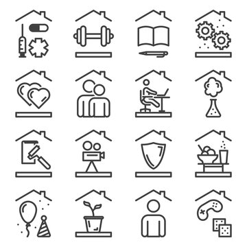 A set of 16 line icons of household chores that include sports, work, play and more. Spending time in quarantine. Isolated vector on white background.