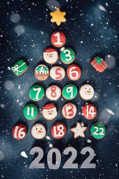 christmas card with snowman advent calendar cookies gift