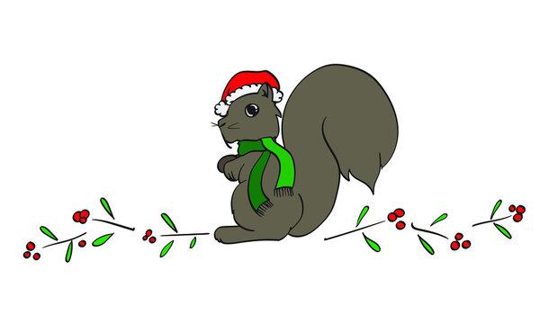 Squirrel in Santa Hat