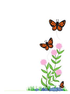 Monarch Butterflies and Milkweed corner border