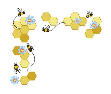 honey bee and honeycomb corner frame