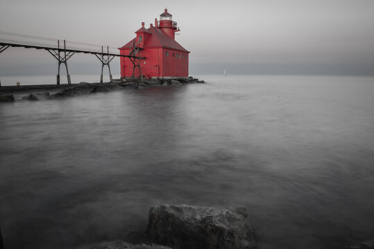 Red Lighthouse in black and white