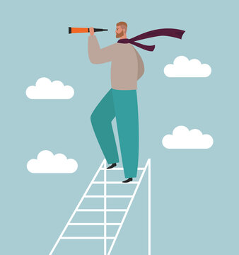 Man looking in a telescope standing on a ladder high in the clouds. Concept of search, vision, forecasting, future. Flat vector illustration. Businessman with strategic thinking