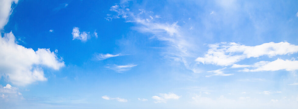 International day of clean air for blue skies concept: Abstract white cloud and blue sky in sunny day texture background