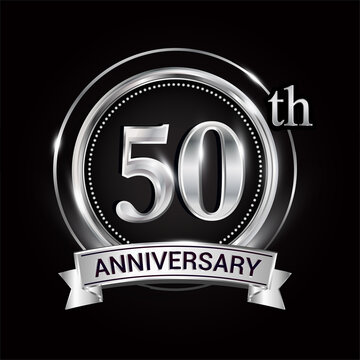 50th silver anniversary logo with ribbon and ring