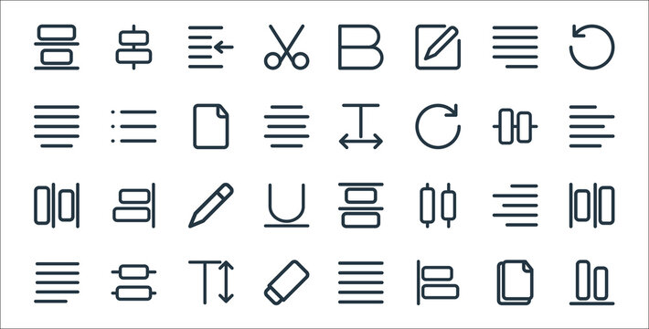 text editor line icons. linear set. quality vector line set such as vertical alignment, align left, eraser, justify paragraph, align right, pencil, align left, text spacing, bullets.