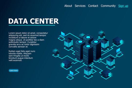 Data center, cloud database, Concept of big data processing center, hosting server or data center room concept.  vector illustration