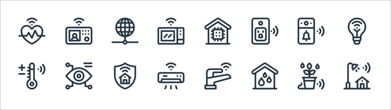 smart home line icons. linear set. quality vector line set such as street light, water system, air conditioner, smart temperature, video doorbell, internet, smart home, intercom.