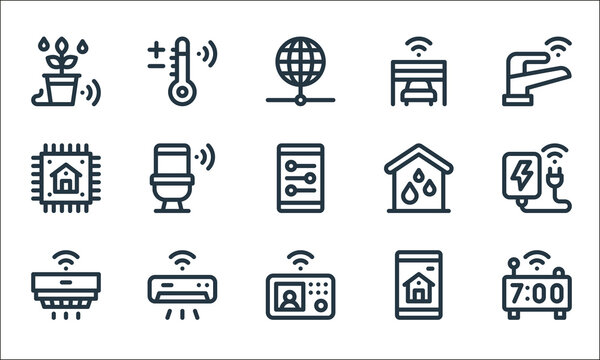 smart home line icons. linear set. quality vector line set such as smart clock, intercom, smoke detector, smart home, air conditioner, chip, water system, garage, temperature.