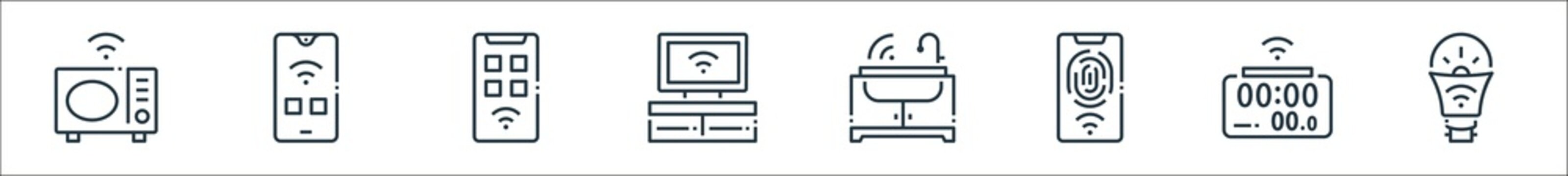 smart home line icons. linear set. quality vector line set such as smart bulb, smart clock, fingerprint scan, sprinkler, smartphone, smartphone.