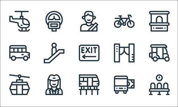 public transportation line icons. linear set. quality vector line set such as waiting room, high speed train, cable car, bus ticket, air hostess, school bus, access control, bike, parking meter.