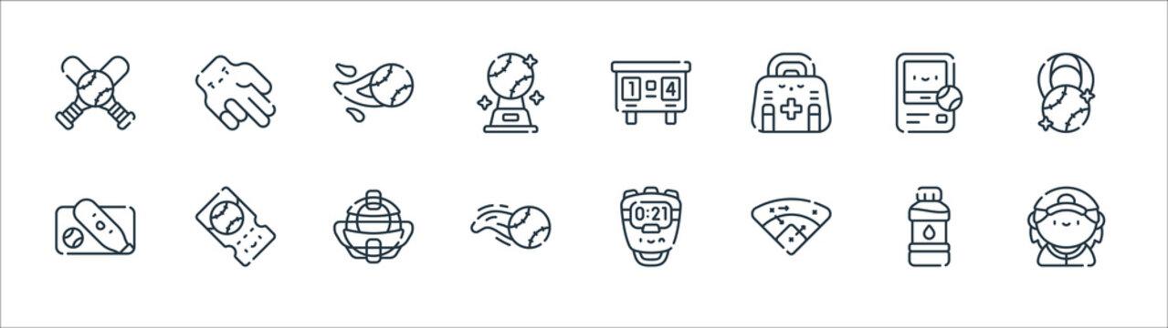 baseball line icons. linear set. quality vector line set such as baseball player, strategy, baseball ball, card, ball, scoreboard, hand.