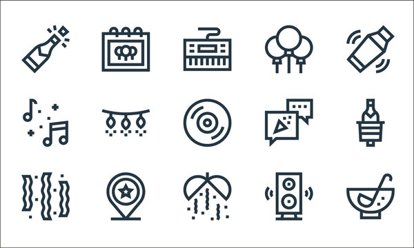 celebration line icons. linear set. quality vector line set such as punch, confetti, confetti, subwoofer, placeholder, music, party, balloons, party.