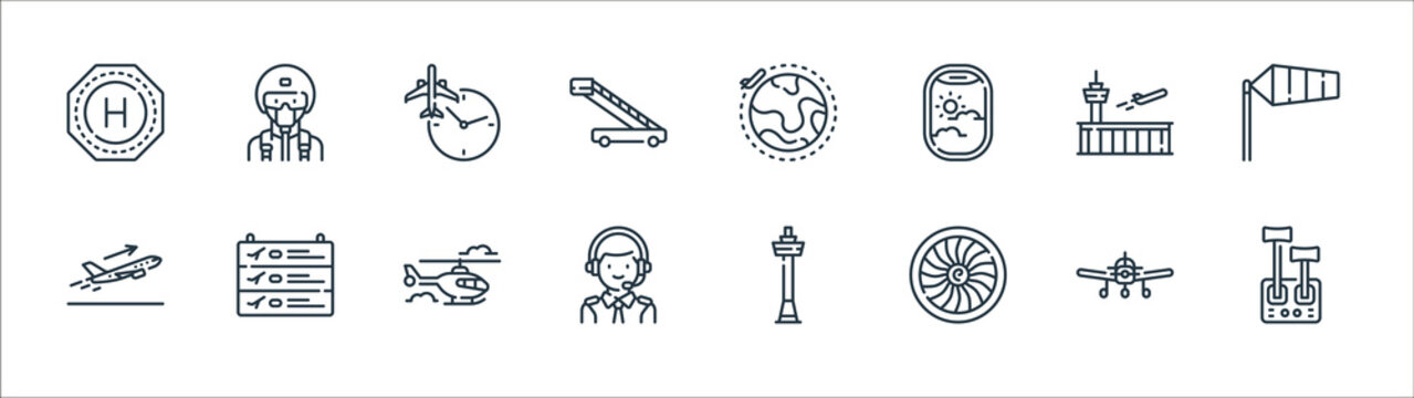 aviation line icons. linear set. quality vector line set such as control lever, engine, pilot, takeoff, airport, clock, earth, military.