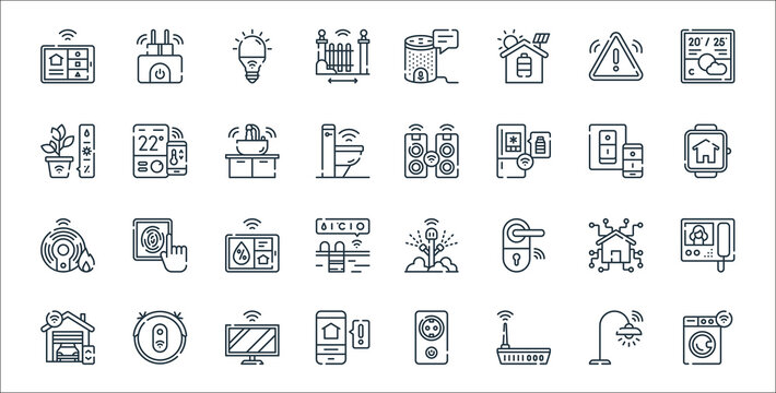 smarthome line icons. linear set. quality vector line set such as smart washing machine, router, alert, garage, smart home, humidity, smartwatch, speaker, thermostat.