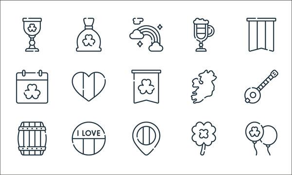 ireland line icons. linear set. quality vector line set such as balloon, map placeholder, barrel, clover, ireland, st patricks day, ireland, irish coffee, money bag.