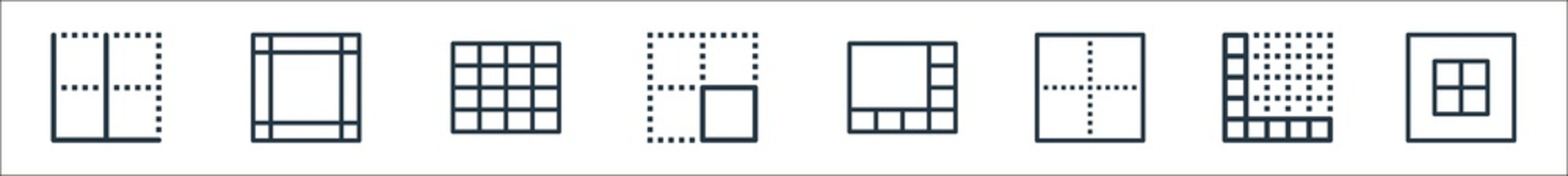 spreadsheet line icons. linear set. quality vector line set such as margin, block, border, border, right align, columns, columns.