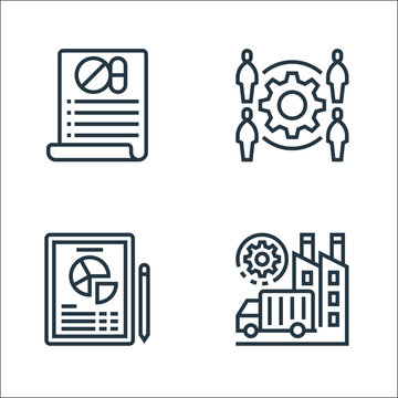 business process outsourcing line icons. linear set. quality vector line set such as supply chain management, report, human resources.