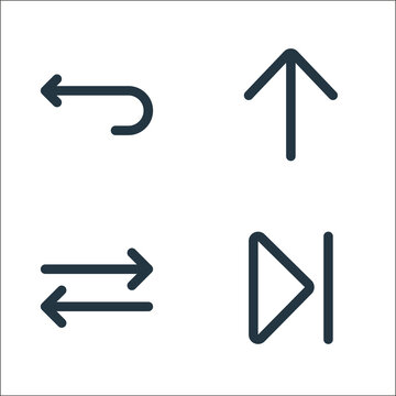 arrows line icons. linear set. quality vector line set such as skip, switch, up arrow.