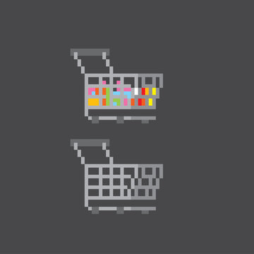 Empty and full shopping cart from the hypermarket. Pixel art. Old school computer graphic. 8 bit video game. Game assets 8-bit sprite. 16-bit.