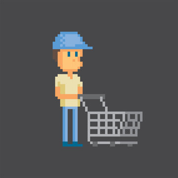 Male shopper with a shopping cart. Pixel art. Old school computer graphic. 8 bit video game. Game assets 8-bit sprite. 16-bit.