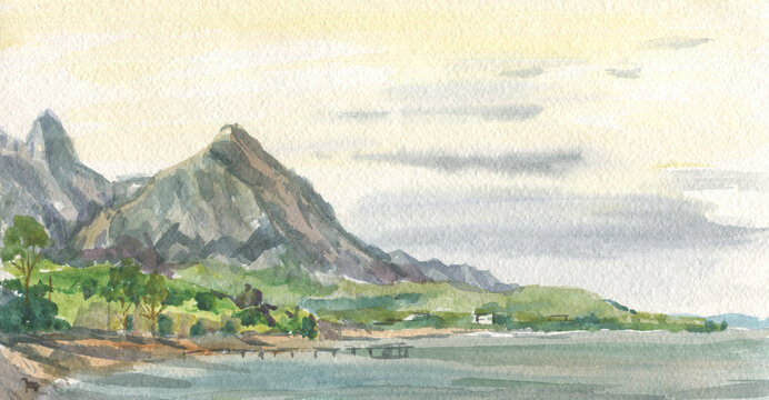 sea and mountains in watercolor painting technique