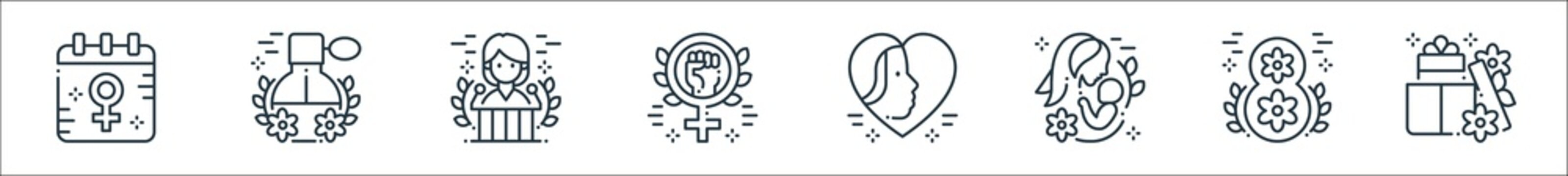 womens day line icons. linear set. quality vector line set such as gift, womens day, motherhood, heart, stop bullying, woman, perfume.