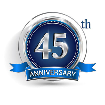 Celebrating 45th anniversary logo, with silver ring and ribbon isolated on white background.