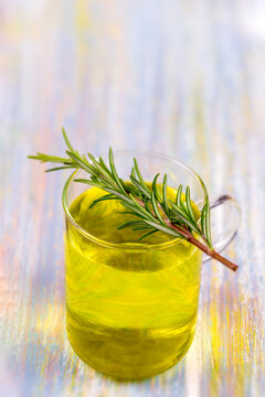 Herbal tea.Rosemary infusion in a glass cup.Rosmarinus officinalis.Naturopathy.