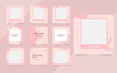 Wall Mural - social media post banner for fashion sale promotion. instagram and facebook square frame puzzle trendy sale poster. pink color background vector illustration