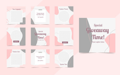 Wall Mural - organic social media template banner fashion sale promotion. fully editable instagram and facebook square post frame puzzle organic sale poster. pink vector