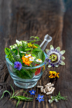 Herbs in mortar with pestle and organic essential aroma oil in glass bottle isolated on rustic background. Herbal medicine concept.