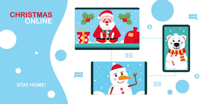 Christmas online. Santa Claus, snowman and polar bear using video conference service for collective holiday virtual celebration, party online. New normal Christmas celebration. Vector illustration.