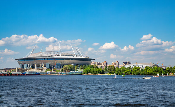 RUSSIA, SAINT PETERSBURG, JULY, 2016 - New football stadium Zenith Arena on Krestovsky island in St. Petersburg