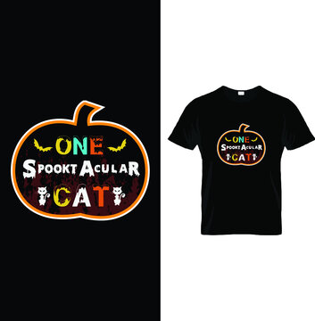 One Spooktacular Cat,  t shirt design for up coming Halloween public holiday on October 31,