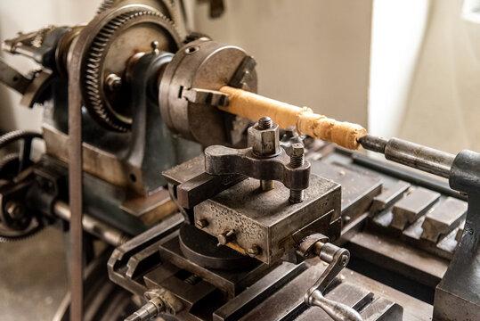 old industrial wood turner machine