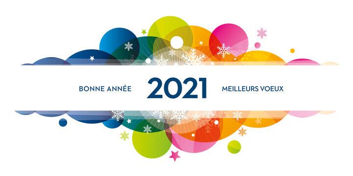 2021 bonne année meilleurs voeux couleurs flocons