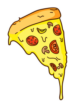 Cartoon pizza slice with melted cheese isolated on white