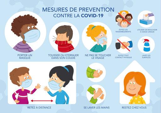 Dessin mesures prévention coronavirus Covid-19. Enfants. Gestes barrière. Illustration vectorielle. Texte français. Calques