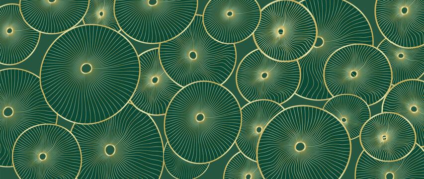 Golden lotus leaf line arts on dark background, Luxury gold wallpaper design for prints, banner, fabric, poster, cover, digital arts vector illustration..