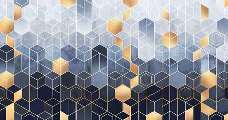 Geometryczna abstrakcja sześciokątów na niebieskim tle