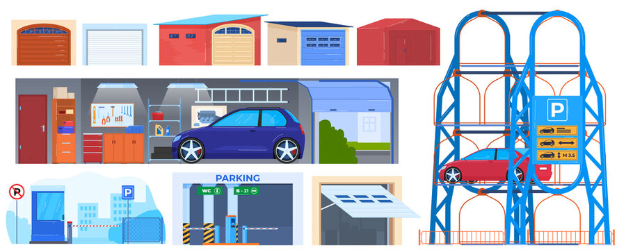 Garage door, parking buildings for cars isolated vector illustrations. Automatic doors for auto, parking sign. Automobille repair service garage. City construction with shutter , roller wall.