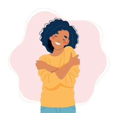 Self love concept, woman hugging herself, vector illustration in flat style