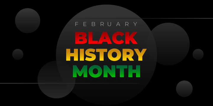 Black history month. Vector banner, poster, card for social media with the text Black history month. Black background flyer, illustration for social media, card, poster.