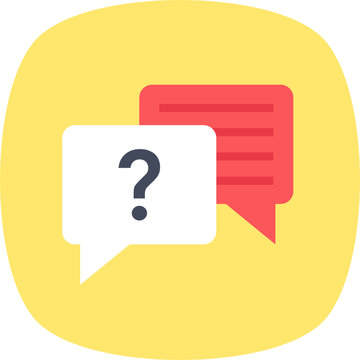Chat bubble with question mark, faq