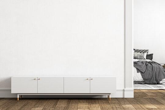 White empty interior with dresser, door and decor. 3d render illustration mockup.