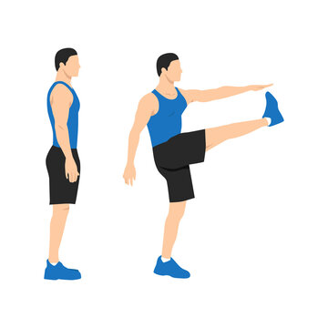 Man doing walking high kicks. Soldier march flat vector illustration. Abdominals exercise isolated on white background