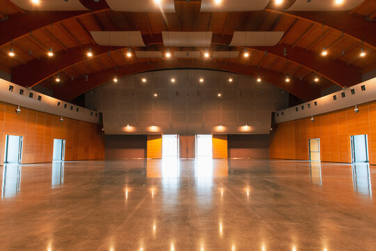 Great conference hall wood architecture classic style empty no people front view copy space at center