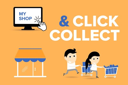Click and Collect concept. E-commerce click and collect online ordering service symbol. Shopping bag. Shopping cart. Pickup location. Characters.