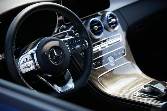 Inside a Mercedes Benz